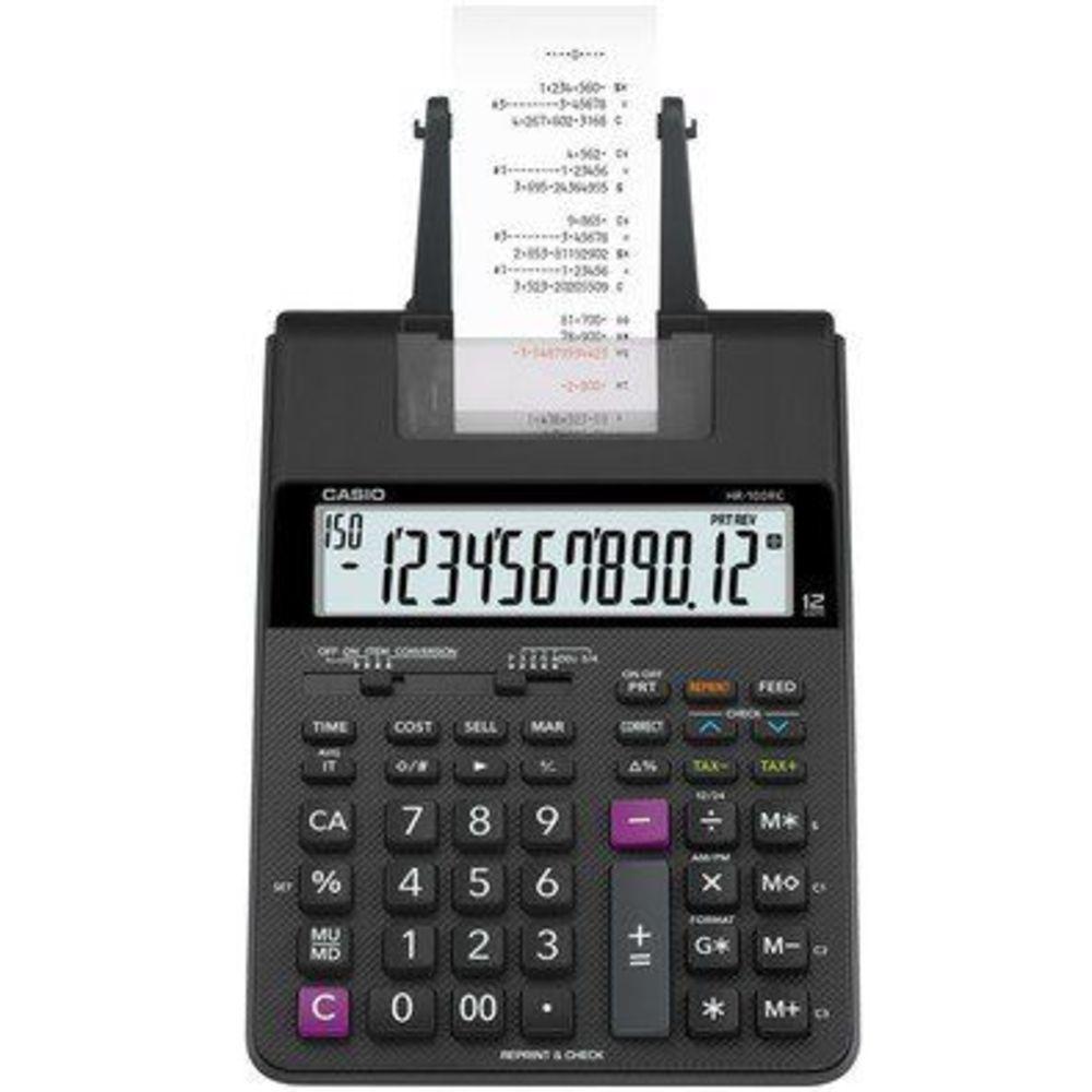 Calculadora com bobina HR-100rc Preta + Caixa Bobina 57x30mt Branca
