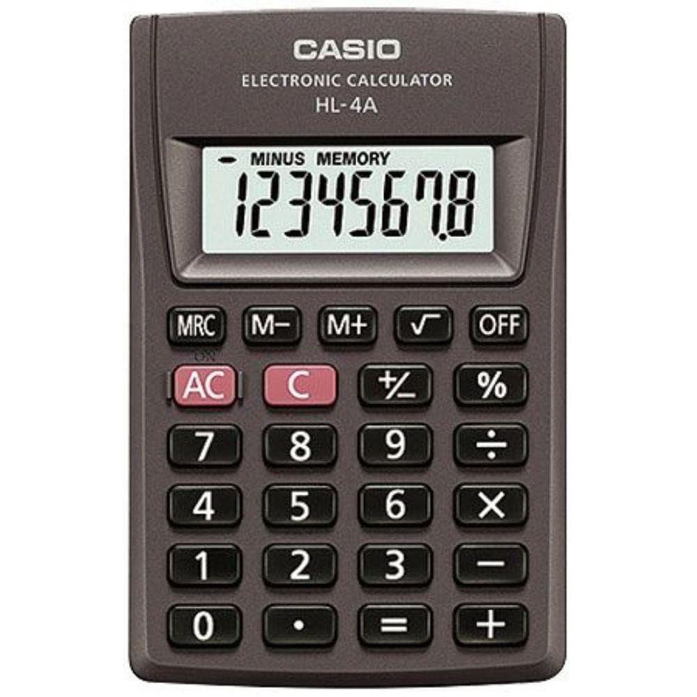 Calculadora de Bolso Casio, 8 dígitos HL-4A-S4-DP Preta