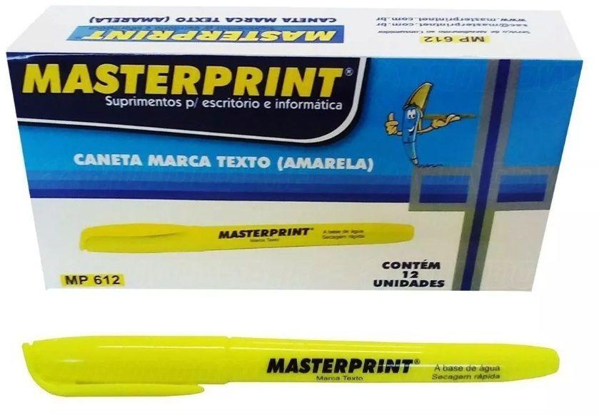 Caneta Marca Texto Amarela c/ 12 unidades