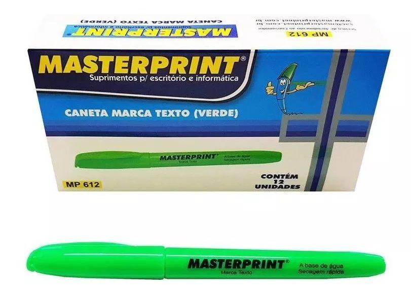 Caneta Marca Texto Verde c/ 12 unidades