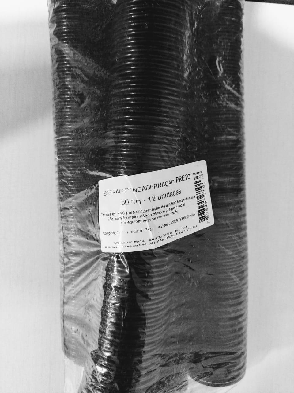 Espiral Preto para Encadernação 50mm - 12 unidades