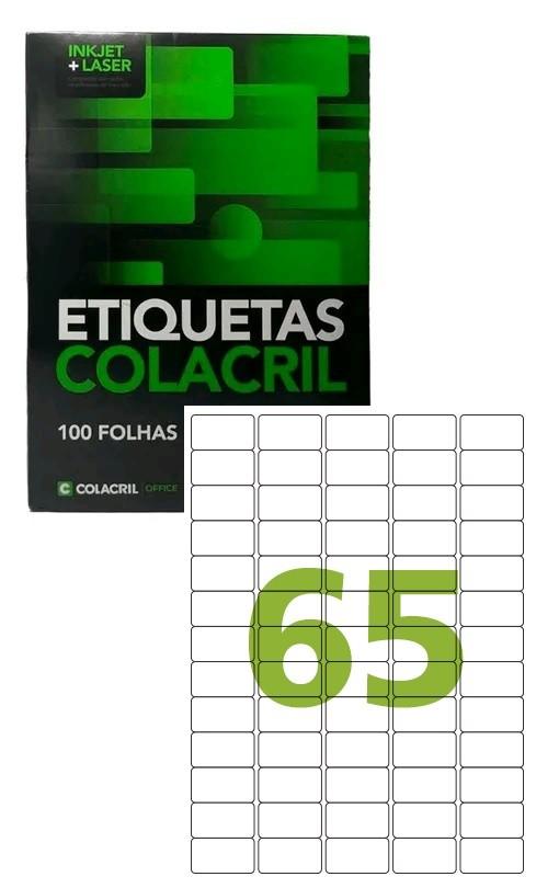 Etiqueta Adesiva CA4351 - 21.20x38.10x5 - 65 unidades por Folha - Caixa com 100 folhas