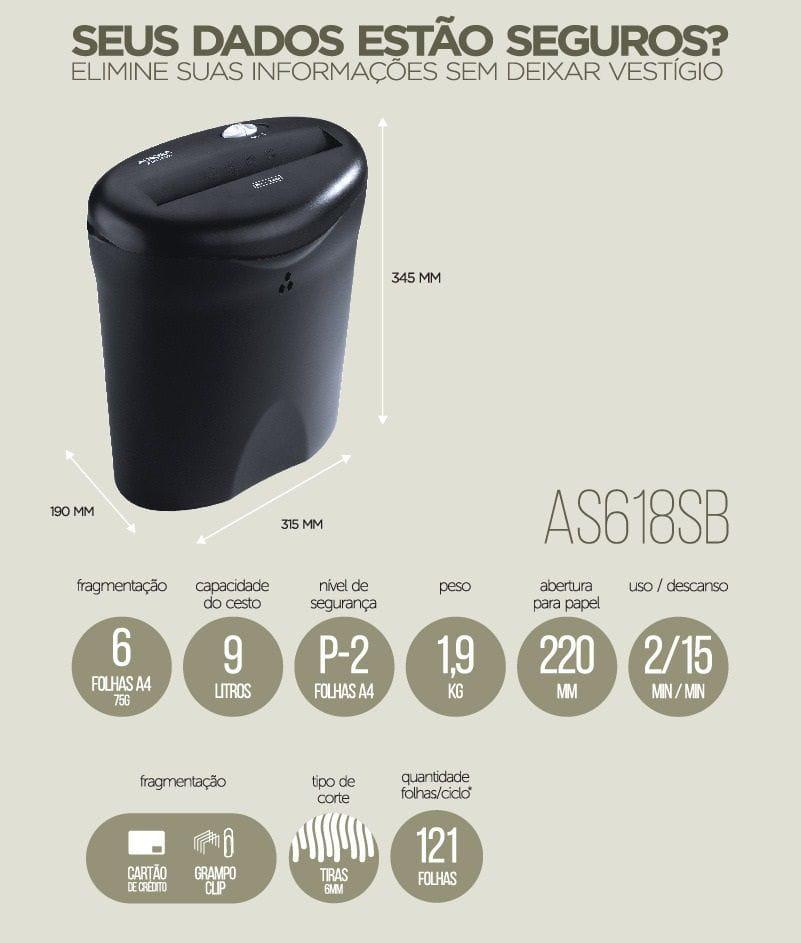 Fragmentadora de papel Aurora AS618SB-1 127v
