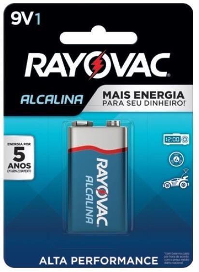 Kit com 12 Pilhas 9v Alcalina Rayovac