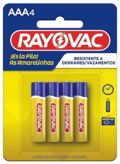 Kit com 96 Pilhas AAA Zinco Rayovac Amarelinha