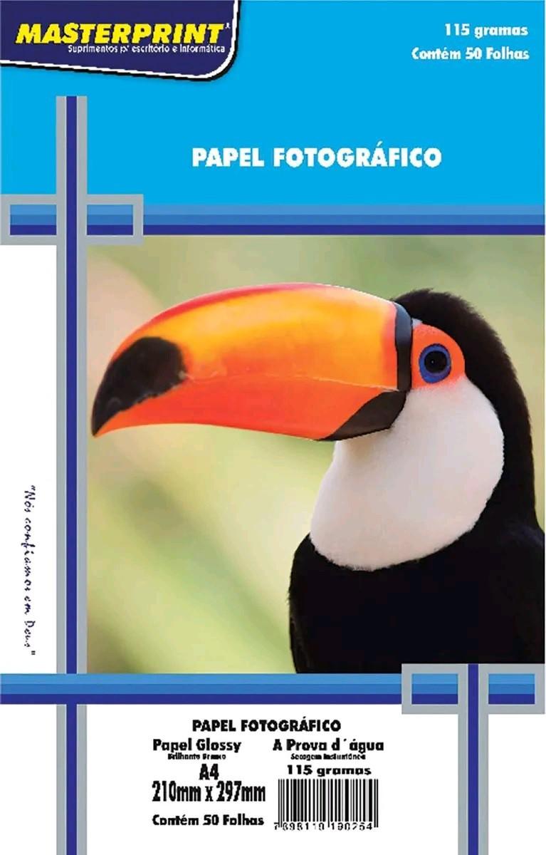 Kit Papel Fotográfico Brilhante A4 - 115gr - 200 Folhas