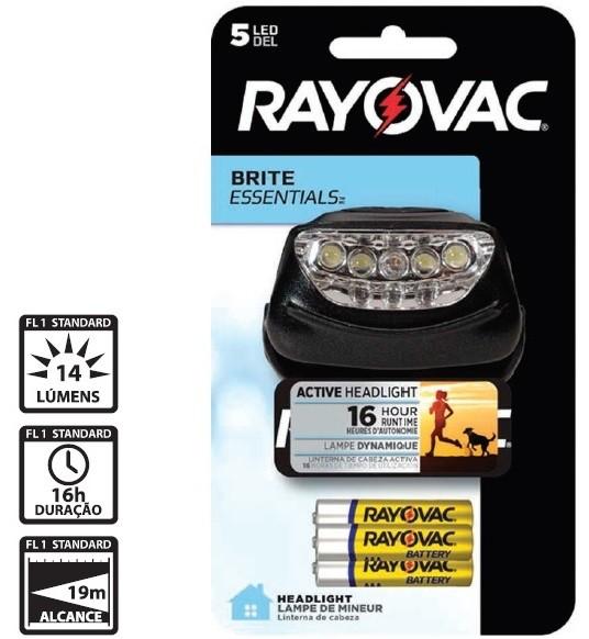 Lanterna de Cabeça 5 Leds - Rayovac + 3 Pilhas AAA
