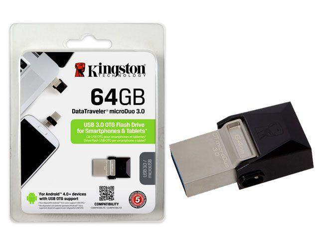 Pen drive Kingston USB 3.0 DTDUO3/64GB - Preto