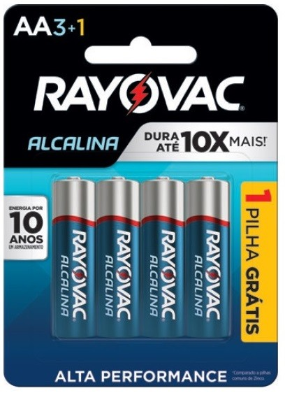 Pilha AA Alcalina Rayovac - 4 unidades