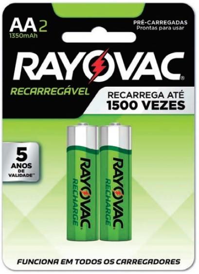 Pilha AA Recarregável Econômica Rayovac 1350mah - 2 unidades