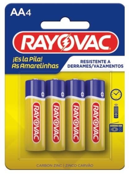 Pilha AA Zinco Rayovac Amarelinha com 4 unidades