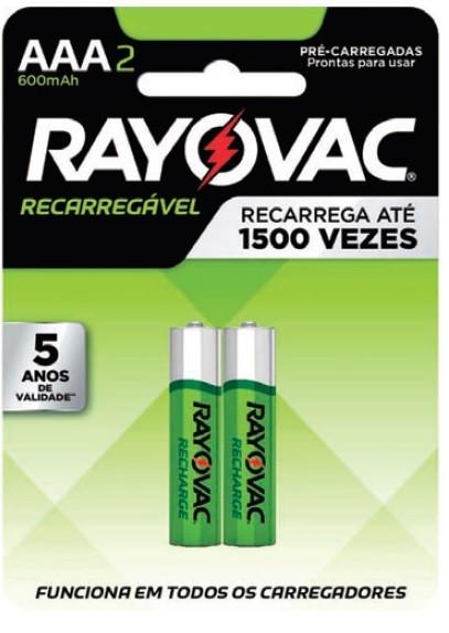 Pilha AAA Recarregável Econômica Rayovac 600mah - 2 unidades