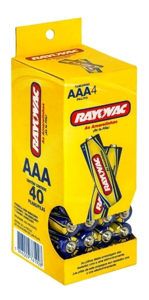 Pilha AAA Zinco Rayovac Amarelinha Tubo com 40 unidades