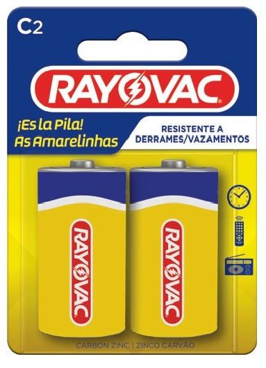 Pilha C Zinco Rayovac Amarelinha com 2 unidades