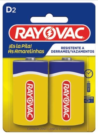 Pilha D Zinco Rayovac Amarelinha com 2 unidades