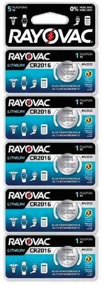 Pilha de Lithium Rayovac CR2016  com 5 unidades