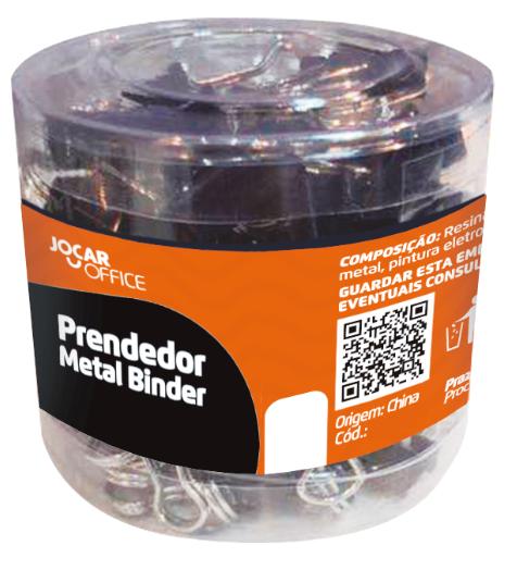 Prendedor de metal Binder 25mm - Pote c/ 48 unidades