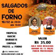 CURSO 18/02 SALGADOS DE FORNO 09:00 ÀS 13:00 COM VANJA E SOLANGE