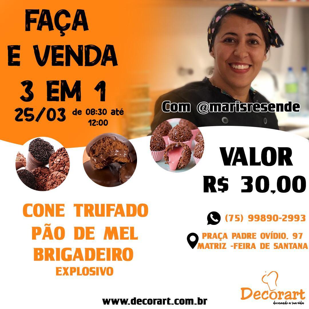 CURSO 25/03 FAÇA E VENDA 3 EM 1 DE 08:30 ÀS 12:00 COM MARI RESENDE
