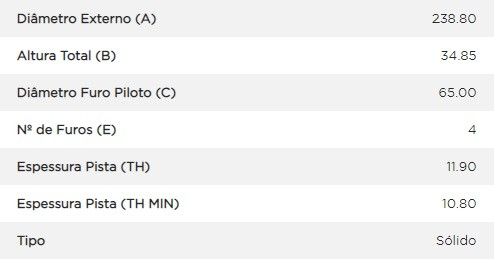 Disco freio dianteiro Gol, Voyage, Parati, Santana, Saveiro (solido)(par) D31
