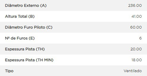 Disco freio dianteiro Monza, Kadett, Ipanema, Corsa, Astra, Celta, Agile D17