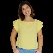 Blusa Cropped Transpasse Líria Amarela