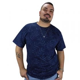 Camiseta Estampada Folhagem Azul Marinho