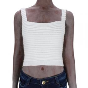 Cropped de tricot faixa Branco