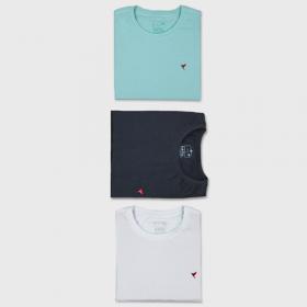 KIT 3 Camisetas (Preta, Branca e Verde Água)
