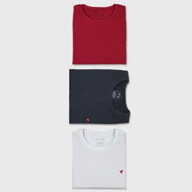 KIT 3 Camisetas (Preta, Branca e Vermelha)