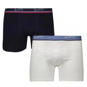 Kit Com 2 Cuecas Boxer LUPO Algodão com Elastano Branco/Preto