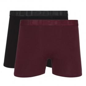 Kit Com 2 Cuecas Boxer LUPO Algodão com Elastano Preto/Vinho