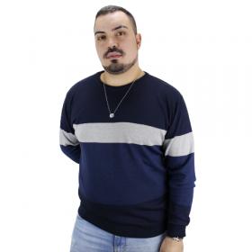 Suéter de Tricot Listras Largas Azul