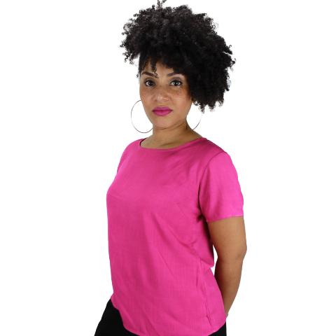 Blusa Básica com Botão Líria  Pink