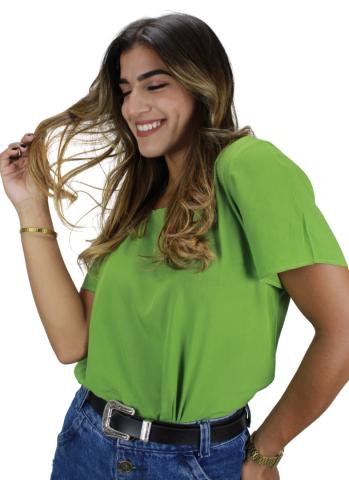 Blusa Básica com Botão Líria Verde