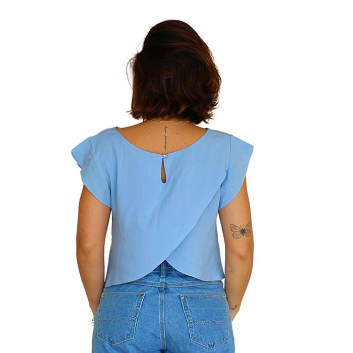 Blusa Cropped Transpasse Líria Azul Claro