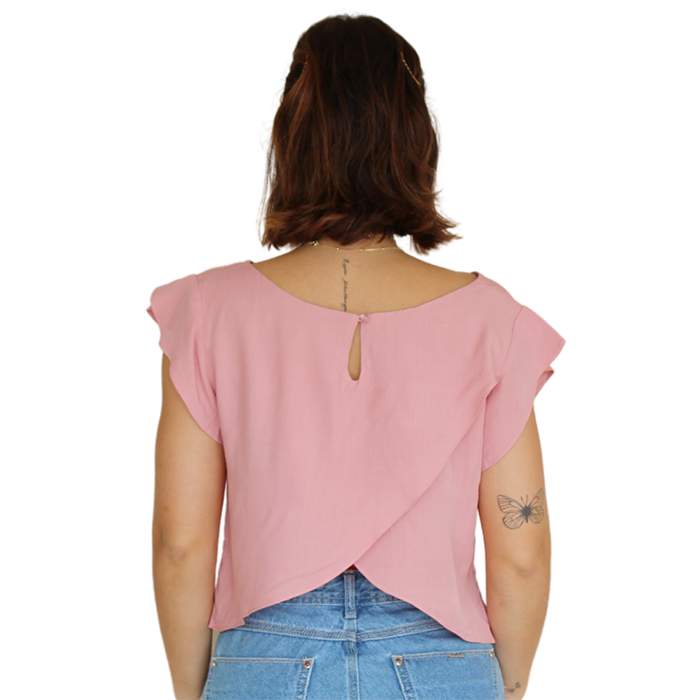 Blusa Cropped Transpasse Líria Rose
