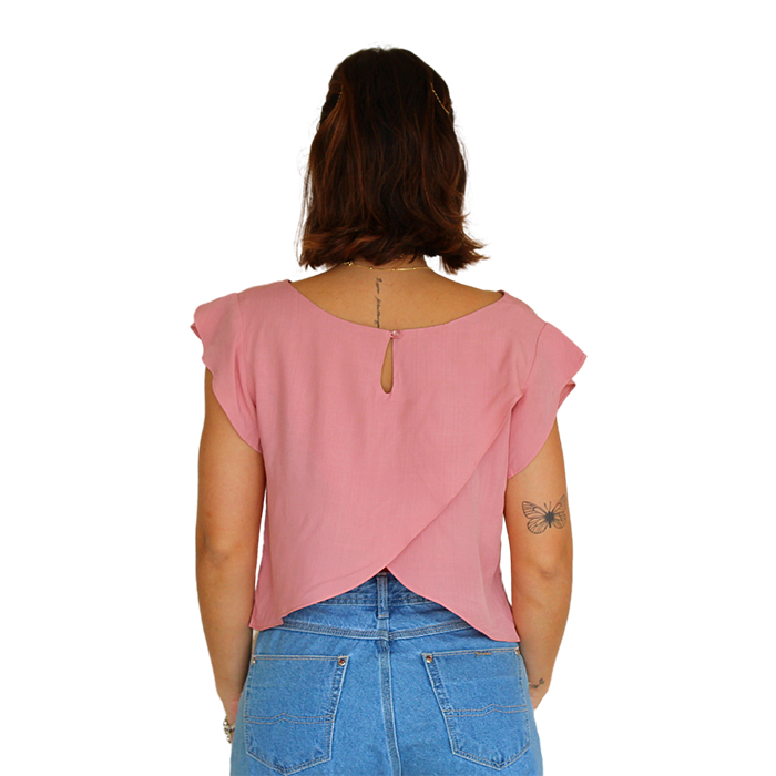 Blusa Cropped Transpasse Líria Rose