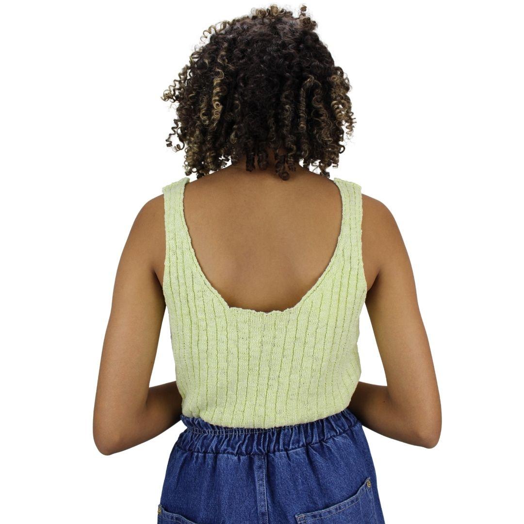 Blusa de Alça Larga  Tricot Verde