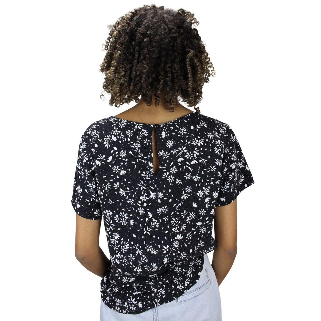Blusa Estampada com Botão Líria Preta