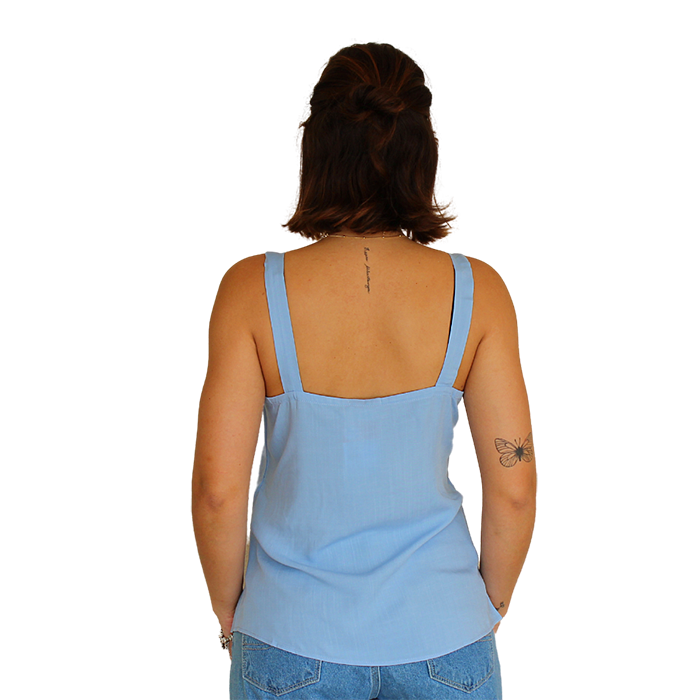 Blusa Regata Alça Larga Líria Azul Claro