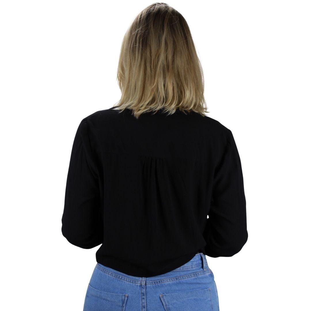 Camisa Manga Longa  Preta Amarração