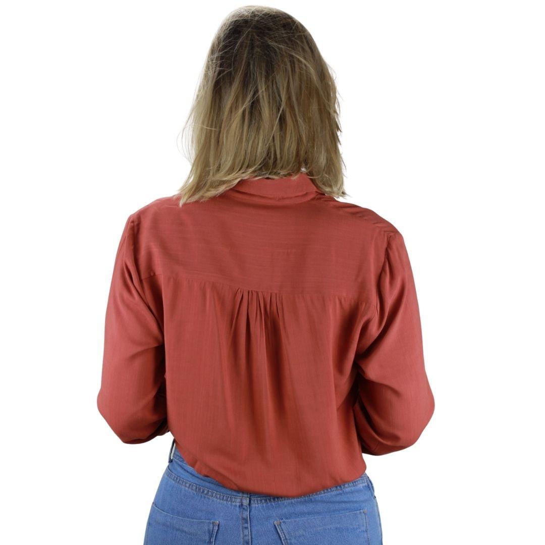 Camisa Manga Longa Terra Cota Amarração