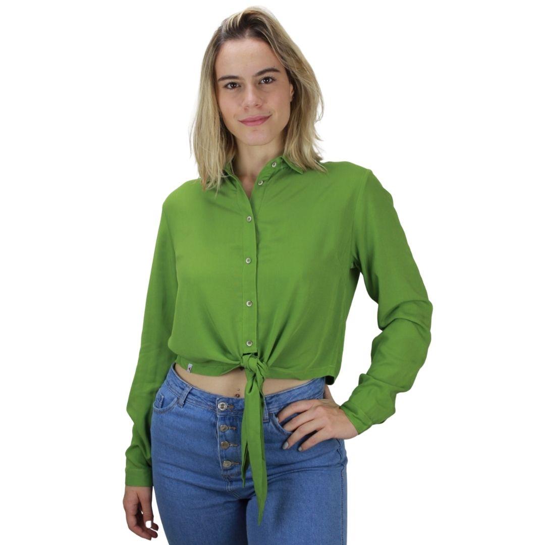 Camisa Manga Longa Verde Amarração