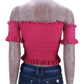 Cropped de Tricot Ciganinha Rosa