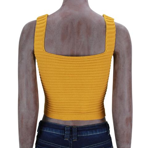 Cropped de tricot faixa Mostarda