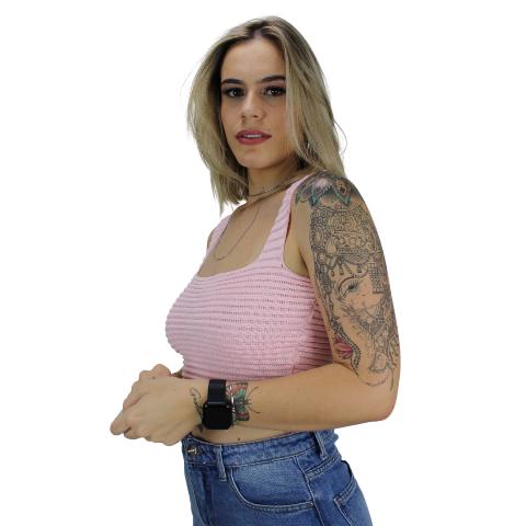Cropped de Tricot faixa Rosa Bebê