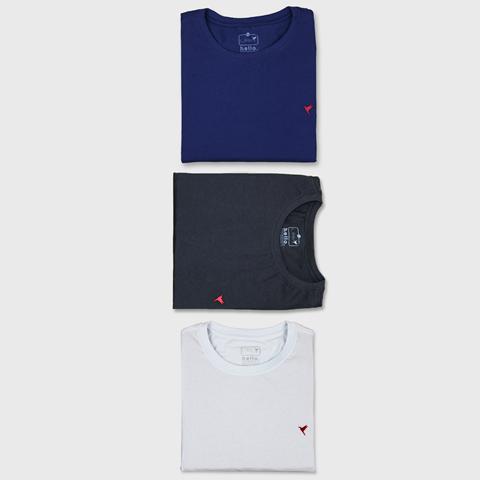 KIT 3 Camisetas (Preta, Branca e Azul Marinho)