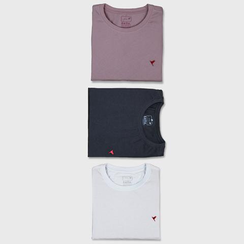 KIT 3 Camisetas (Preta, Branca e Rose)