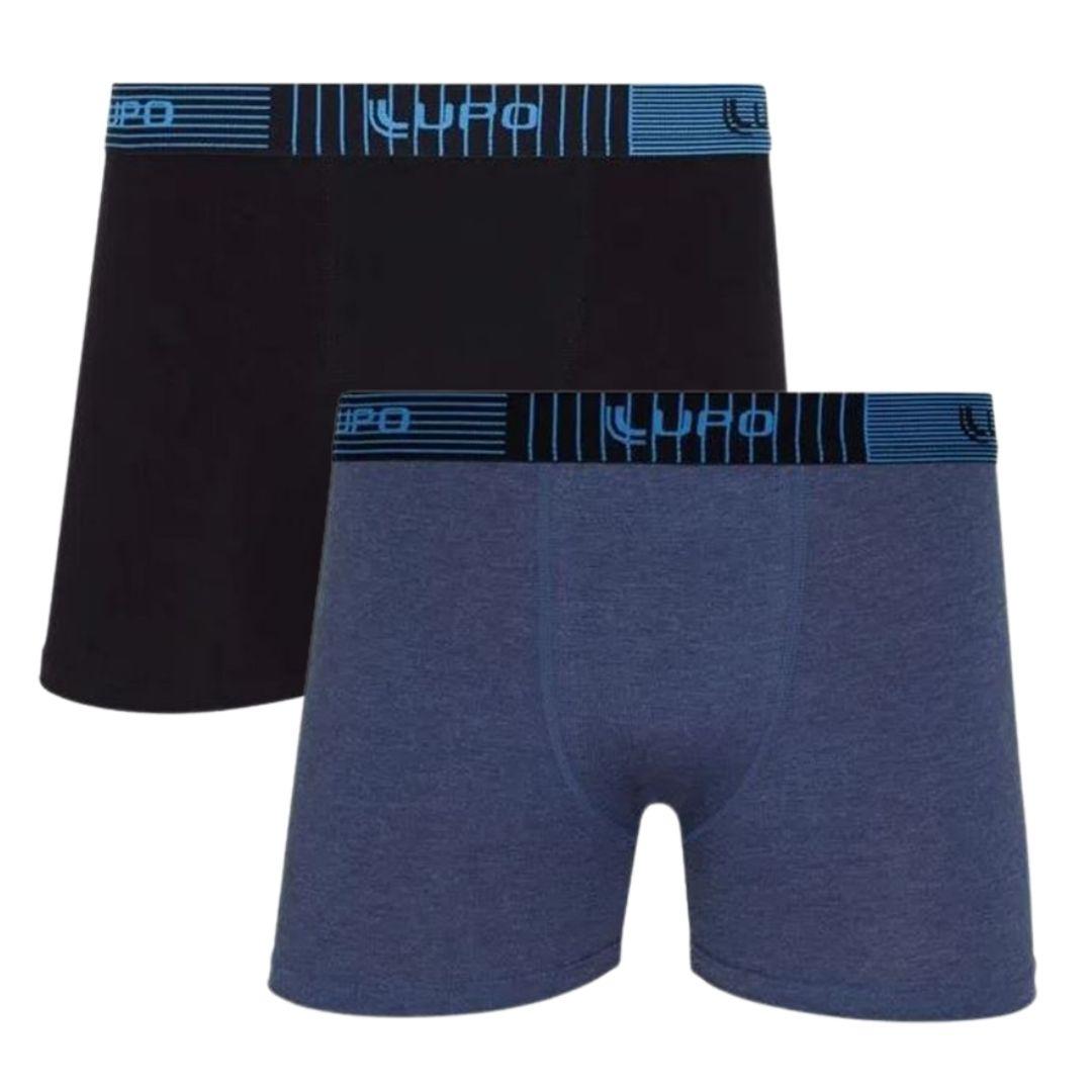 Kit Com 2 Cuecas Boxer LUPO Algodão com Elastano Mescla Azul/Preta